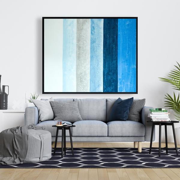 Framed 48 x 60 - Blue stripes