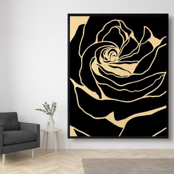 Framed 48 x 60 - Cutout black rose
