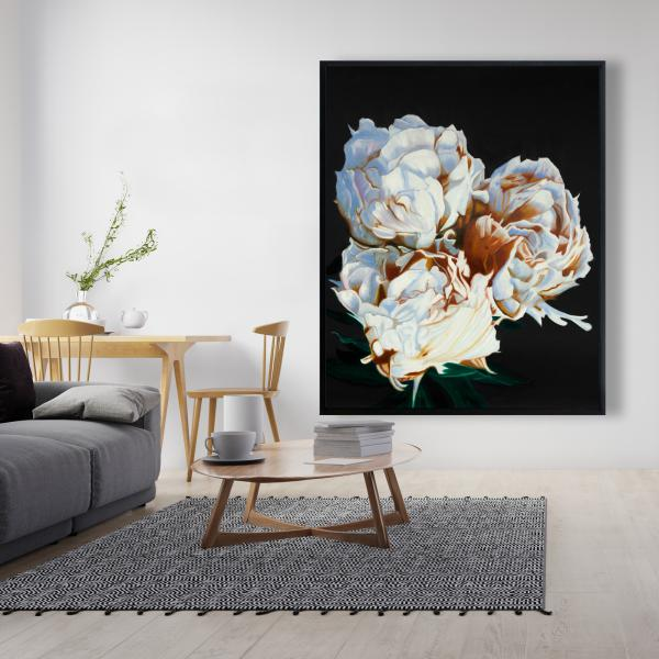 Framed 48 x 60 - Blooming peonies