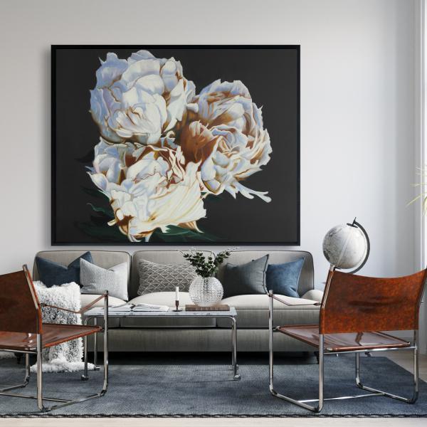 Framed 48 x 60 - Blooming peonies