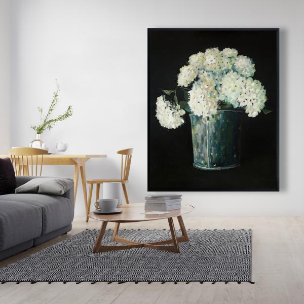 Framed 48 x 60 - White hydrangea flowers