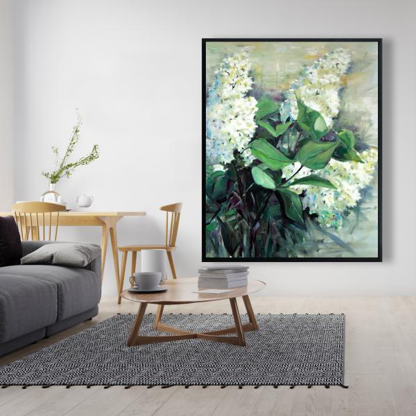 Framed 48 x 60 - White lilacs