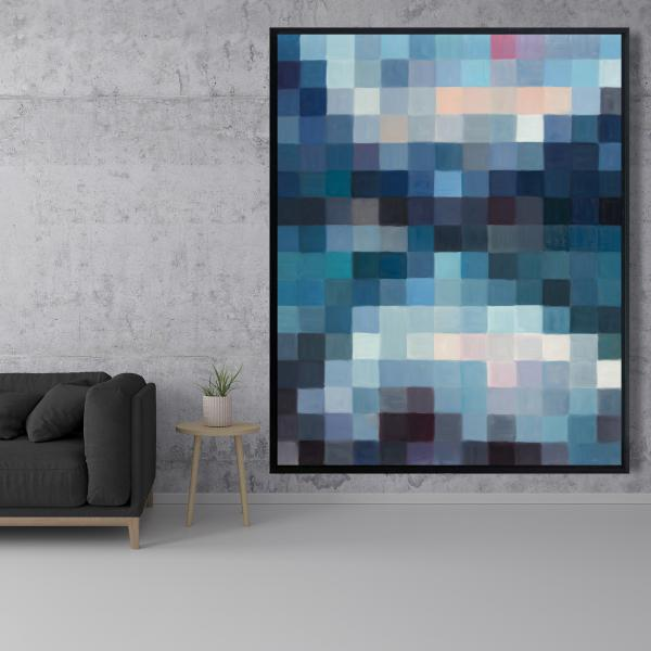 Framed 48 x 60 - Pixelated mountainous landscape