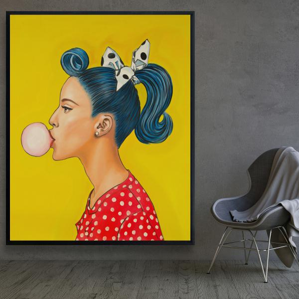 Framed 48 x 60 - Retro woman with beautiful ponytail