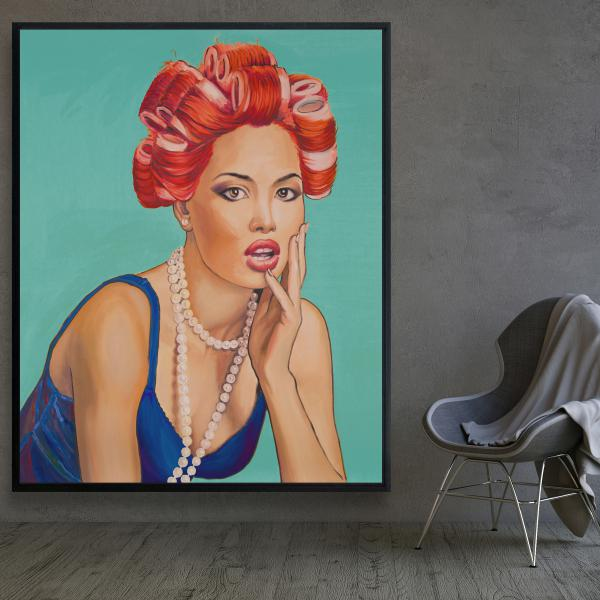 Framed 48 x 60 - Pin up girl with curlers