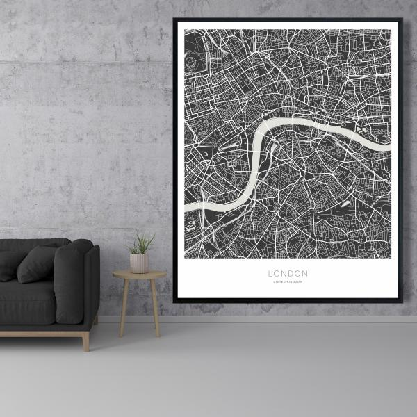Framed 48 x 60 - Graphic map of london