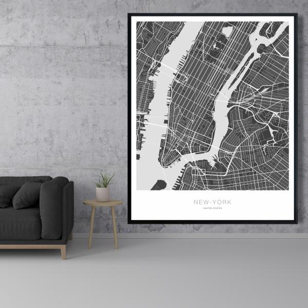 Framed 48 x 60 - New york graphic map