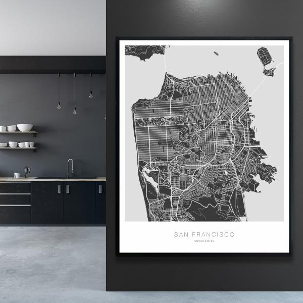 Framed 48 x 60 - San francisco graphic map