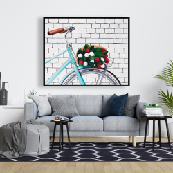Framed 48 x 60 - Bicycle with a bouquet of tulips