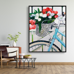 Framed 48 x 60 - Bicycle with tulips flowers in basket