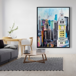 Framed 48 x 60 - Colorful cityscape of manhattan