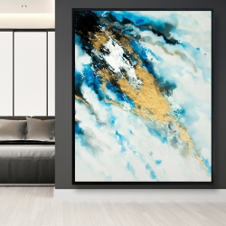 Framed 48 x 60 - Blue and gold marble