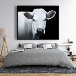 Framed 48 x 60 - White cow