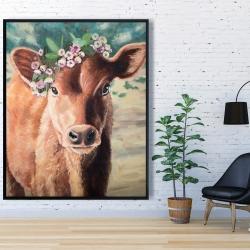 Framed 48 x 60 - Cute jersey cow