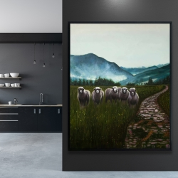 Framed 48 x 60 - Sheep in the countryside