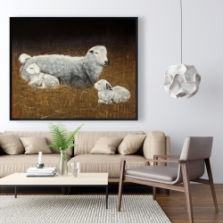 Framed 48 x 60 - Sheep and lambs