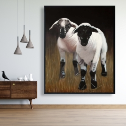 Framed 48 x 60 - Two lambs