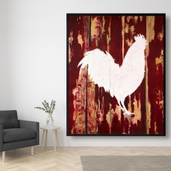 Framed 48 x 60 - Rooster silhouette