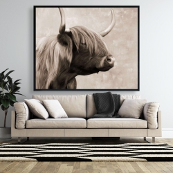 Framed 48 x 60 - Beautiful highland cattle sepia