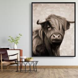 Framed 48 x 60 - Highland cattle sepia