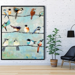 Framed 48 x 60 - Small colorful birds