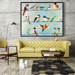 Framed 48 x 60 - Small abstract colorful birds