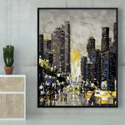 Framed 48 x 60 - Abstract and texturized city with yellow taxis