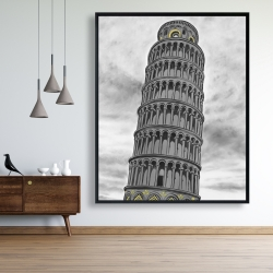 Framed 48 x 60 - Outline of tower of pisa in italy