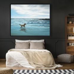 Framed 48 x 60 - Dog on the beach