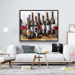 Framed 48 x 60 - Red wine bottles