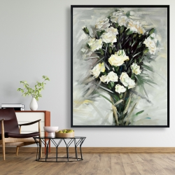 Framed 48 x 60 - Lisianthus white bouquet