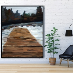 Framed 48 x 60 - Dock and lake