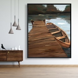 Framed 48 x 60 - Lake, dock and boat
