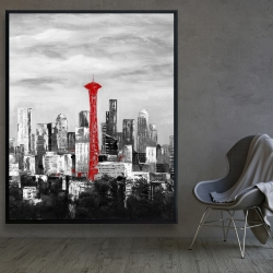 Framed 48 x 60 - Space needle in red
