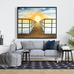 Framed 48 x 60 - Sunset in the sea