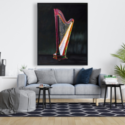 Framed 48 x 60 - Colorful realistic harp 2