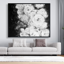 Framed 48 x 60 - Monochrome rose garden