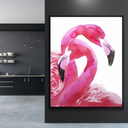 Framed 48 x 60 - Watercolor flamingo love