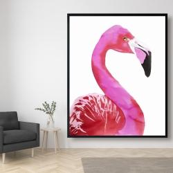 Framed 48 x 60 - Watercolor proud flamingo profile