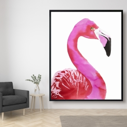 Framed 48 x 60 - Watercolor proud flamingo profile