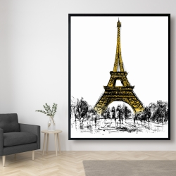 Framed 48 x 60 - Outline of eiffel tour