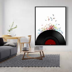 Framed 48 x 60 - Notes escaping from a vinyl record