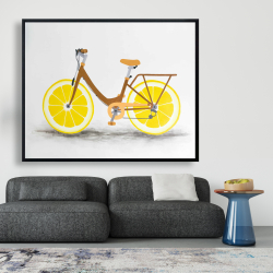 Framed 48 x 60 - Lemon wheel bike