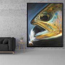 Framed 48 x 60 - Golden trout with fly fishing flie