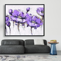Framed 48 x 60 - Abstract purple flowers
