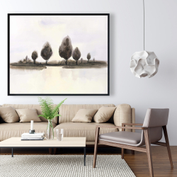 Framed 48 x 60 - Abstract landscape of trees
