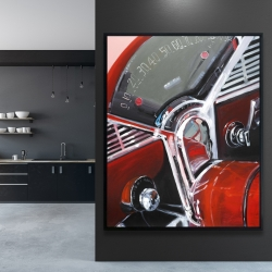 Framed 48 x 60 - Vintage red car dashboard
