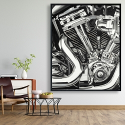 Framed 48 x 60 - Mechanism of a motorcycle