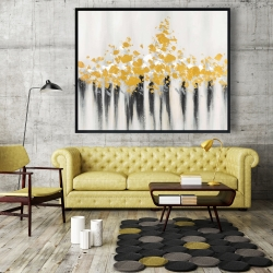 Framed 48 x 60 - Abstract gold flowers