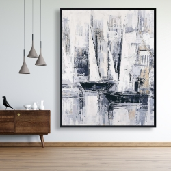 Framed 48 x 60 - Industrial style sailboats